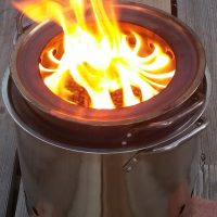 The Hot-Pot, a portable wood pellet campfire, reduced smoke, no sparks, never haul firewood again!